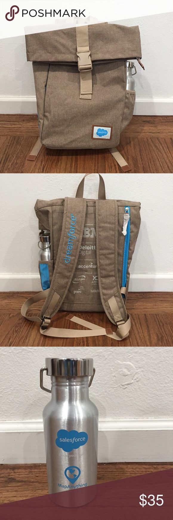 "New Salesforce Backpack & Water Bottle New Salesforce 2017 Dream Force Backpack with Metal water bottle. Backpack has inner laptop compartment  Backpack approx dimensions: 16"" x 14.5"" x 5"" Water bottle approx 7.5"" tall Bags Backpacks"