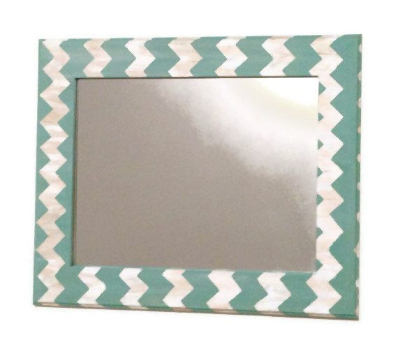 Seafoam chevron mirror, teal and cream wall mirror on Etsy, $150.00