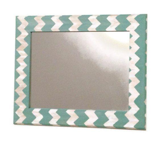 Seafoam chevron mirror teal and cream wall mirror by MullaneInk