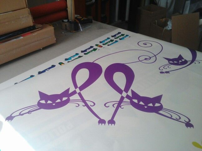 Making cats wall decal for Andrea  #wallart