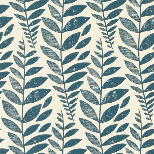 Odhni Wallpaper A flowing Batik leaf design introduces gorgeous textural metallic detail into its pure printed cotton to create depth of character and a vintage distressed feel. With blue foliage on a cream background.