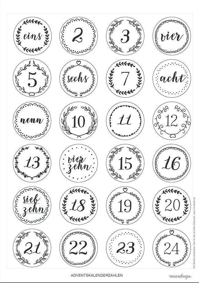 Zahlen für den DIY Adventskalender zum Ausdrucken