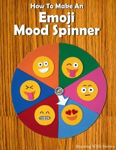 Make an Emoji Mood Spinner for your door from craft foam. Just cut out emoji faces and glue onto a color coded pie chart. Then add a spinner!