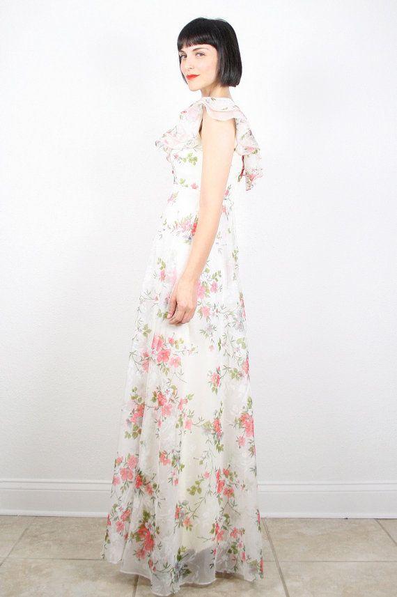 Vintage hippie wedding dress hippie dress maxi dress white for White hippie wedding dress