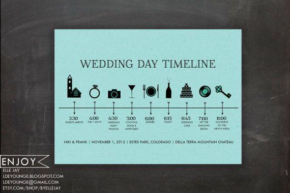 wedding program: custom timeline - digital printable file (color paper version) - icon, events, schedule
