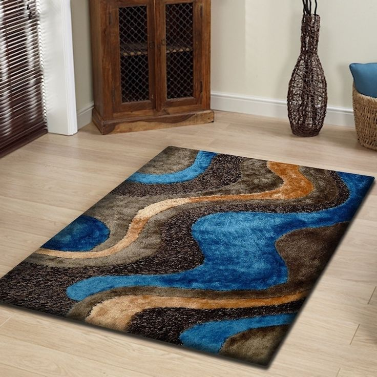 rug addiction blue lightgold brown two inch pile thickness hand tufted silky shag area rug 5u0027