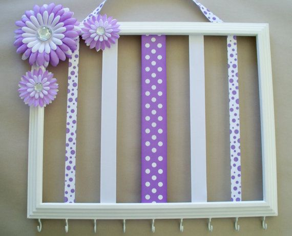 White 11x14 picture frame headband and hair bow holder, hair accessories organizer, purple and white girls room decor on Etsy, $35.00