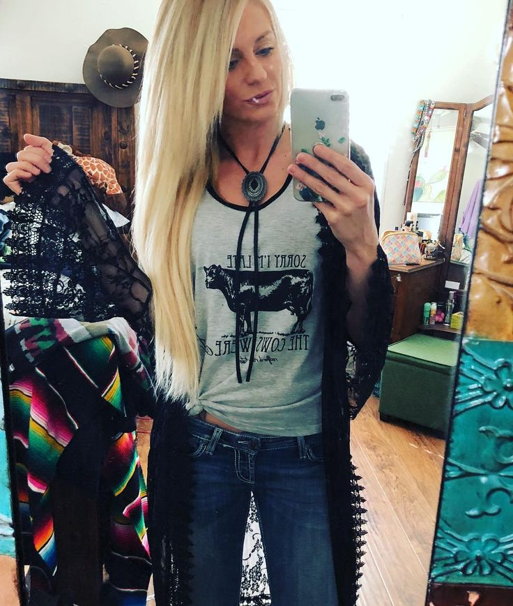 Another way to wear our new Leather Concho Necklaces! They do adjust! They come in Black or Brown Leather with your choice of Concho! $27.50 includes shipping! Thank you for my Tank @fit_on_the_farm ❤️ Lace Duster from @rue21official DARN THQT ONE SPOT ON THE MIRROR! Lol *To purchase, Leave email WITHOUT .com at the end! IG will delete your comment. You will be invoiced via PayPal. #pricklychicken #pricklychickenboutique #customized #shoppingonline #shoppricklychicken #shoplocal #onlinebo...
