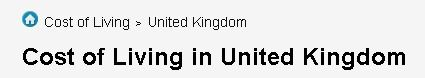 Cost of Living in United Kingdom £ Prices in United Kingdom