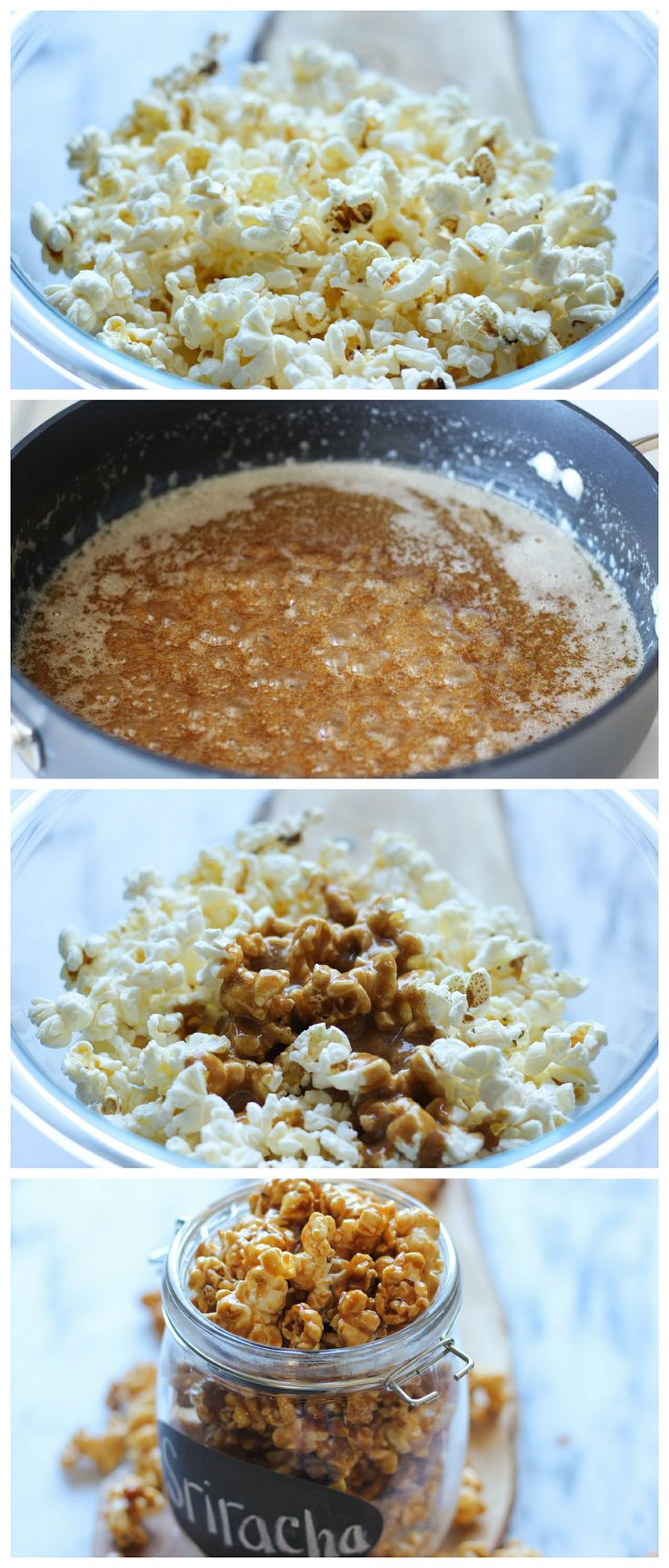 Sriracha Caramel Corn - This is the perfect balance of crunchy, sweet, caramel perfection with a wonderful kick of subtle heat! And it's so easy to make too!