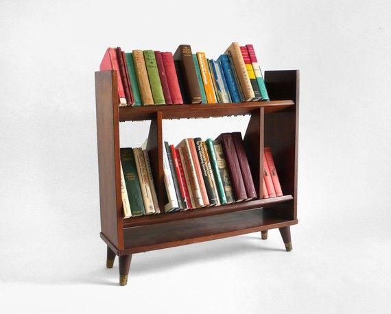 Mid Century Wooden Book Case  Modern Storage Retro Shelf by Moved