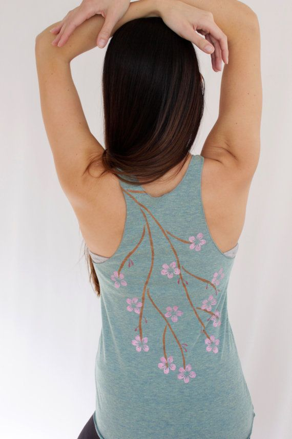 Cherry Blossom Yoga Tank Top Hand Painted, Womens Yoga Clothes, Cherry Blossoms, Racerback Tank Hand Painted, Gifts for Her $32