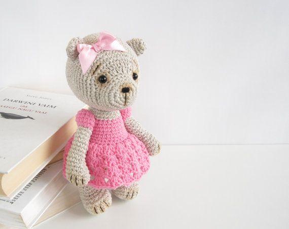 PATTERN: Teddy Girl in a Lace Dress - Crocheted teddy bear - Amigurumi pattern - Stuffed animal - EN-040