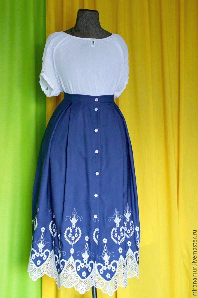 """Купить миди-юбка """"Пелагея"""" - тёмно-синий, орнамент, вискоза, viscose, cotton, blue, blueberry"""