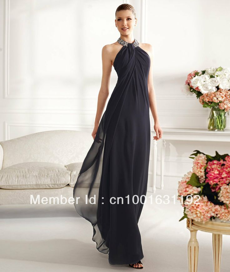 Hot Sale 2013 Ladies Halter Design Chiffon Long Simple Fashion Formal Evening Dress Gowns With Beads and Sequins $109.00