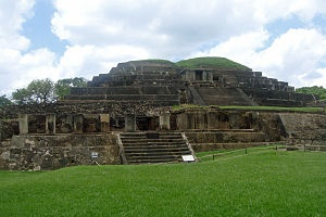 The ruins of Tazumal of the Maya civilization in El Salvador.