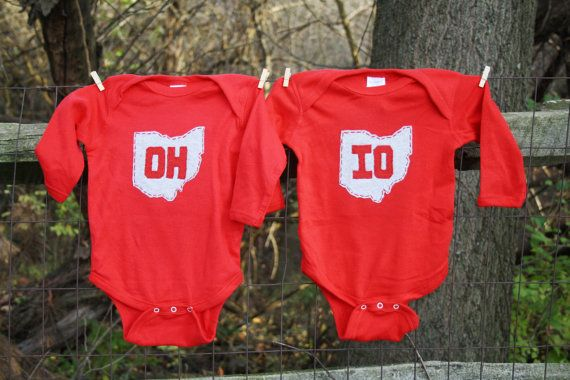 "Red ""OH-IO"" Twin set, bodysuits for twins, or great way to celebrate a 2nd birth, or SIBLINGS"