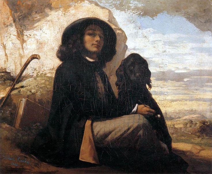 Gustave COURBET, Autoportrait au chien noir, 1842, huile sur toile, Gustave COURBET (en cinq ou dix leçons) LEÇON n°1 : La formation et l'influence des maîtres
