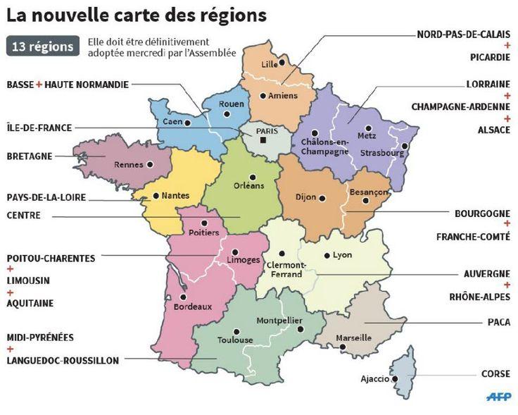 La carte des 13 nouvelles régions au 1er Janvier 2016 avec les principales villes