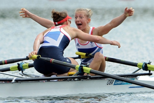 Katherine Copeland and Sophie Hosking of Great Britain celebrate winning gold in the Lightweight Women's Double Sculls Final on Day 8