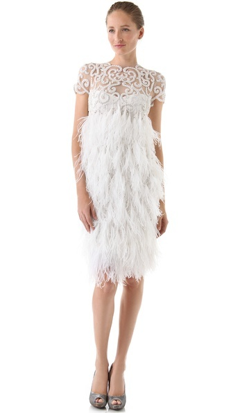 Marchesa Embroidered Tulle Dress with Feather Skirt: Engagement Dresses, Dresses Inspiration, White Feathers, Marchesa Dresses, Dinners Dresses, Tulle Dresses, Embroidered Tulle, Marchesa Embroidered, Feathers Skirts