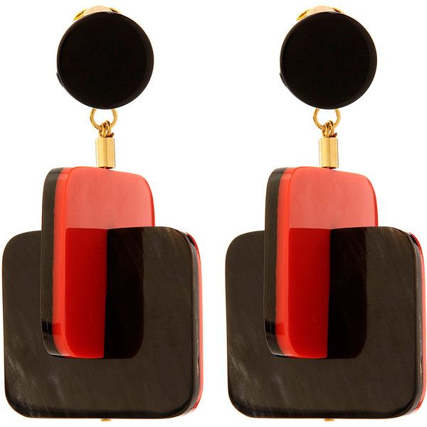 Marni Red Horn Square Earrings ($505) ❤ liked on Polyvore featuring jewelry, earrings, square stud earrings, earrings jewelry, clip-on earrings, art deco jewelry and circle stud earrings