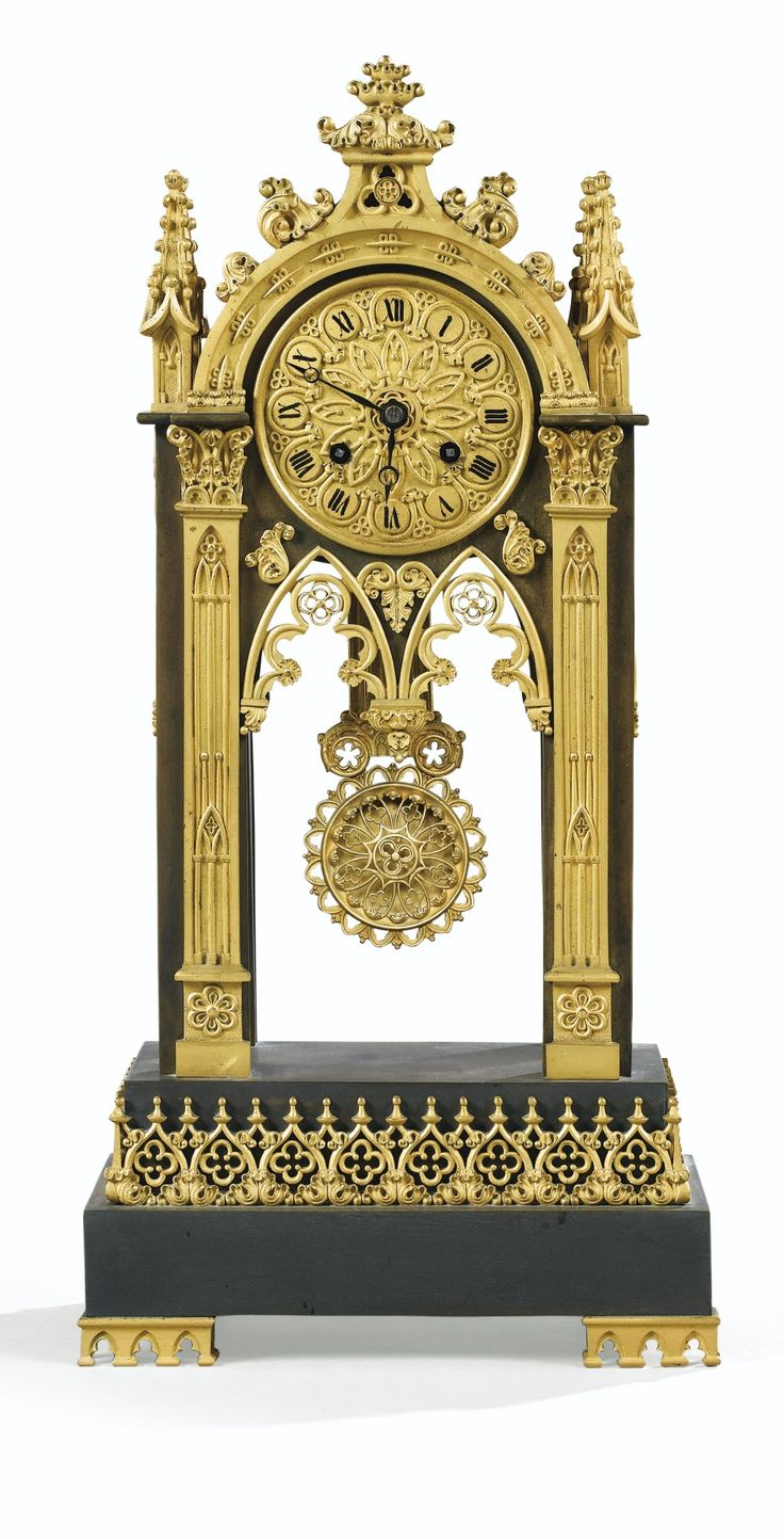 neogothic patinated and giltbronze mantel clock louis philippe - Mantel Clock