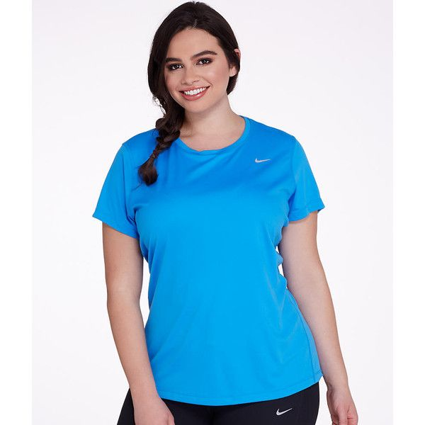 Nike Miler T-Shirt Plus Size ($42) ❤ liked on Polyvore featuring plus size women's fashion, plus size clothing, plus size activewear, plus size activewear tops, crew neck, t-shirts, women, plus size sportswear, nike sportswear and womens plus size activewear