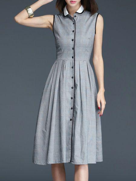 Shop Midi Dresses - Gray Cotton Checkered/Plaid Buttoned Sleeveless Midi Dress online. Discover unique designers fashion at StyleWe.com.