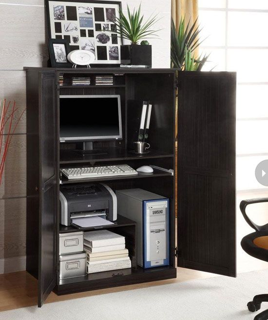 Not enough room for an office. An armoire might be the solution.