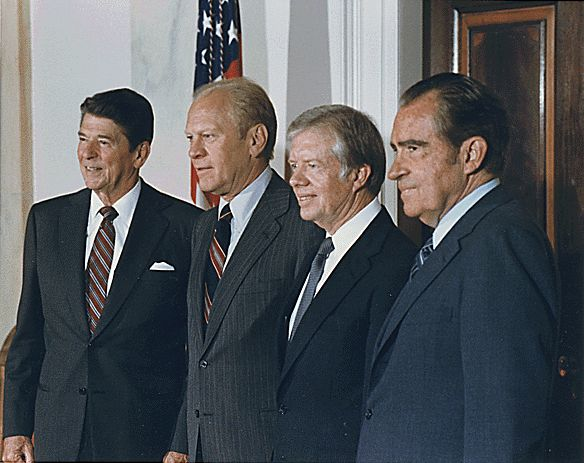President Ronald Reagan meets with his three predecessors, Ford, Carter and Nixon at the White House, October 1981; the three former presidents represented the United States at the funeral of Egyptian President Anwar Sadat