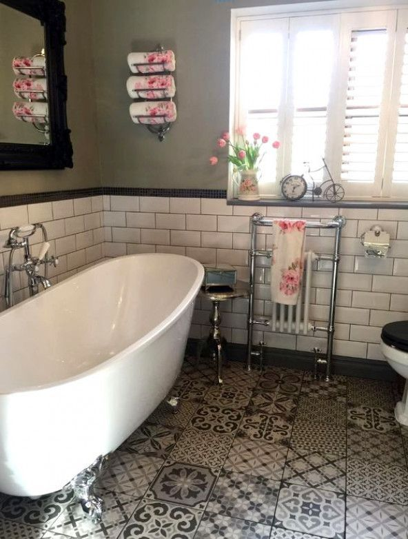 Emma S Traditional Bathroom Features A Slipper Style Freestanding Bath A Vintage Toilet And P Traditional Bathroom Traditional Bathroom Tile Eclectic Bathroom