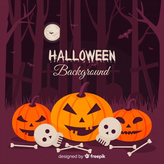 Download Terrific Halloween Background With Flat Design For Free