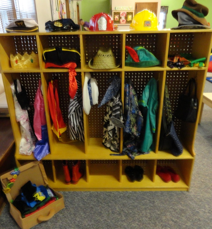 Cubbies/mailboxes turned into a Dress-up area for our ...