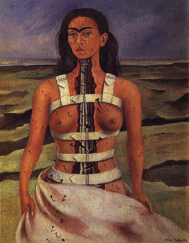 Frida Kahlo. The story behind this is so remarkable: the artist did a self portrait of herself, after she had been in a major bus wreck that broke her spine.