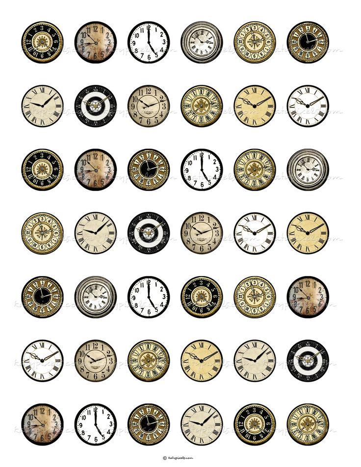 Vintage Clock Faces 1 inch Round Digital Collage