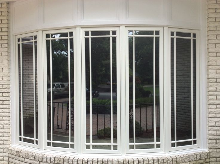 Large pella bow window with prairie grilles windows