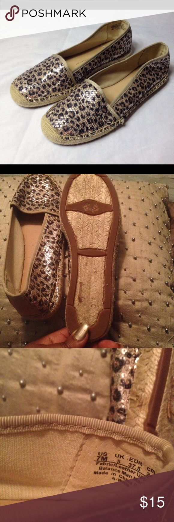 Franco Sarto espadrilles Franco Sarto artist collection sequin animal print espadrilles. Minor wear on bottom. Very good condition Franco Sarto Shoes Espadrilles