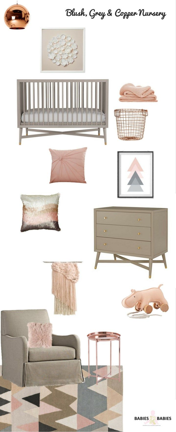 A blush grey and copper nursery design, nursery design inspiration,mid century nursery