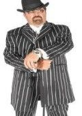Men's Black & Bold Very White Pinstripe Gangester Zoot Suits $159