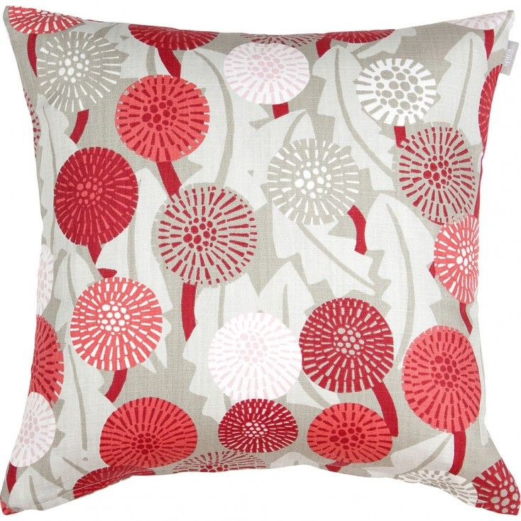 Spira Maskros Red Cushion Cover from Hus & Hem. They may not be a welcome sight in the garden, but Spira's pretty Maskros cushion with its striking dandelion print will certainly liven up your home.  Spira of Sweden's Maskros cushion features a botanical print in shades of raspberry red, pale pink, coral and putty.  Mix and match Maskros with the Bubbla and Dotte cushions, to name just a few of Spira's many complimentary patterns that are designed to create a colour happy Scandinavian home.