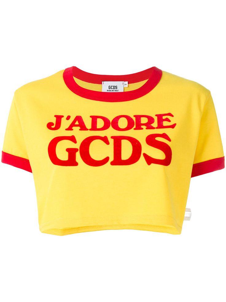 ¡Cómpralo ya!. Gcds - Logo Cropped T-Shirt - Women - Cotton - M. Yellow cotton logo cropped T-shirt from gcds. Size: M. Color: Yellow/orange. Gender: Female. , topcorto, croptops, croptop, croptops, croptop, topcrop, topscrops, cropped, topbailarina, corto, camisolacorta, crop, croppedt-shirt, kurzestop, topcorto, topcourt, topcorto, cortos. Top corto  de mujer color amarillo,naranja oscuro de GCDS.
