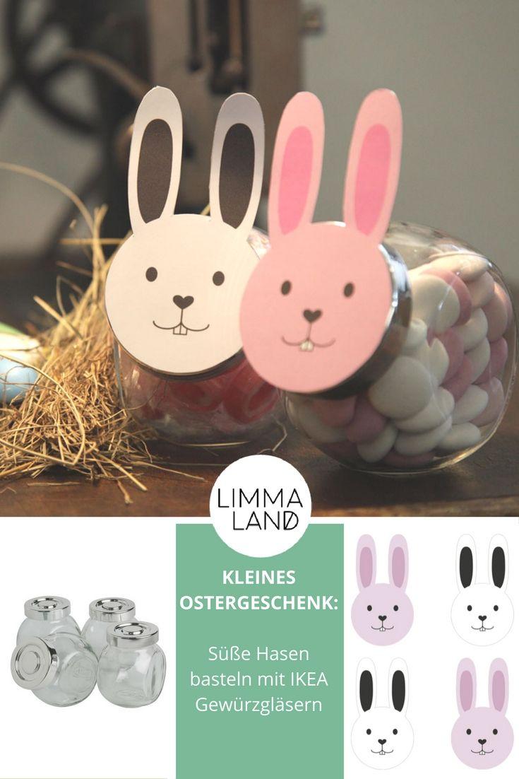 Aus IKEA GLÄSERN, die eigentlich für Gewürze gedacht sind, lässt sich ein süßes kleines Ostergeschenk für Kinder, liebe Verwandte, Freunde und Nachbarn basteln! Mit kostenloser Bastelvorlage von Limmaland, die du gleich hier ausdrucken kannst! IKEA Hacks für Ostern