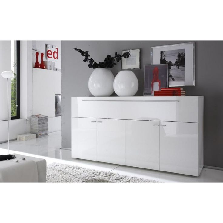 High Gloss White Lacquered Italian Side Board Buffet With Lot Of Storage | Richport Designs