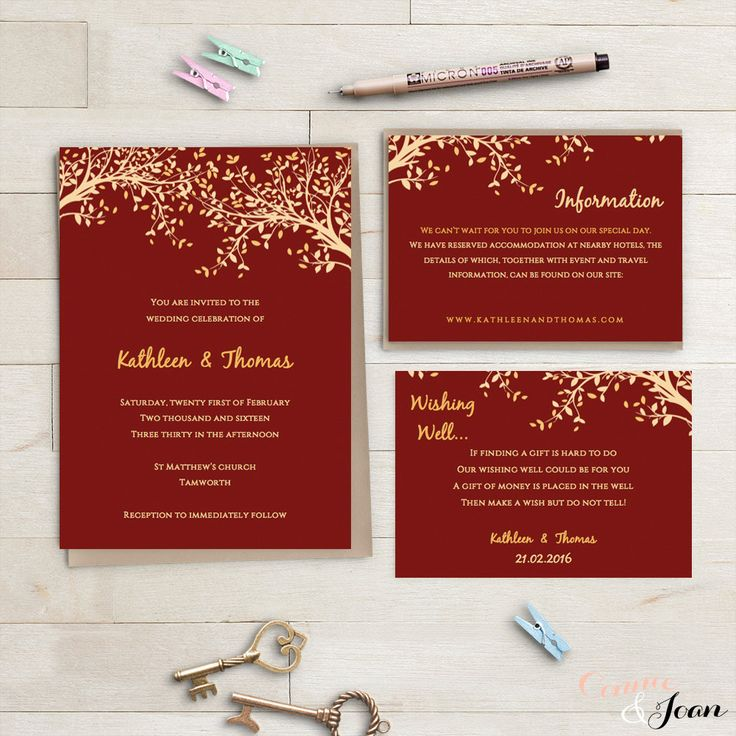 wedding e invite wordings%0A Red and gold printable Wedding Invitation set by ConnieAndJoan