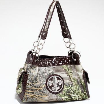 Real Tree ® camouflage Fleur de Lis accent shoulder bag handbag - Coffee