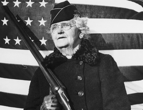 """Mrs. Paul Titus, 77-year-old air raid spotter in Pennsylvania during WWII. She signed up the day after the Pearl Harbor attack, saying """"I can carry a gun any time they want me to"""".: World War, Paul Titus, Raid Spotter, Bucks County, Harbor Attack, Pearls Harbor, 77 Years Old Air, December 20, Air Raid"""