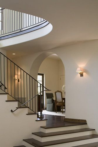 Railing, stairs, sconces