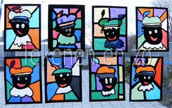 Deze Zwarte Pieten in lood zien er super feestelijk uit. Te maken met zwart knutselpapier en vloeipapier. Knutselwerkje voor wat oudere kinderen. van: www.tekenenenzo.blogspot.nl