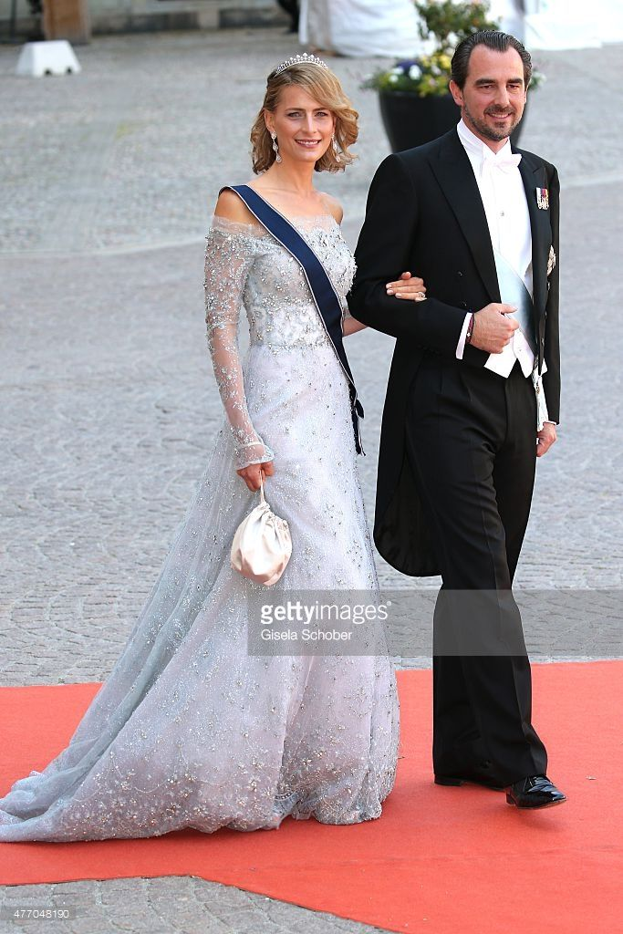 Prince Nikolaos of Greece (R) and Princess Tatiana of Greece attend the royal wedding of Prince Carl Philip of Sweden and Sofia Hellqvist at The Royal Palace on June 13, 2015 in Stockholm, Sweden.  (Photo by Gisela Schober/Getty Images)